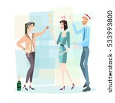 businesspeople celebrate merry... | Shutterstock .eps vector #533993800