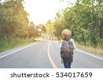 happy asian girl backpack  in... | Shutterstock . vector #534017659