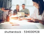 joyful team brainstorming. new... | Shutterstock . vector #534030928