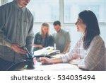 joyful team brainstorming. new...   Shutterstock . vector #534035494
