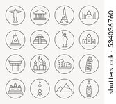 world landmarks thin line icon... | Shutterstock .eps vector #534036760