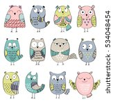 set of cartoon owls with... | Shutterstock .eps vector #534048454