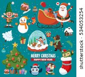 vintage christmas poster design ... | Shutterstock .eps vector #534053254