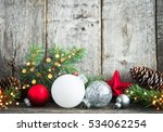 red  silver and white christmas ... | Shutterstock . vector #534062254