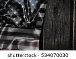 usa flag on a wood surface | Shutterstock . vector #534070030