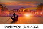 gondola near rialto bridge in... | Shutterstock . vector #534078166