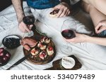 young couple enjoying wine with ... | Shutterstock . vector #534079489