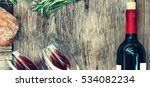 wine  rosemary  ciabatta | Shutterstock . vector #534082234