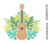 ukulele and tropical leafs.... | Shutterstock .eps vector #534092578