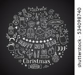hand drawn christmas and new... | Shutterstock .eps vector #534098740