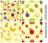set of fruits seamless patterns.... | Shutterstock . vector #534126364