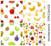 set of fruits seamless patterns ... | Shutterstock . vector #534126418