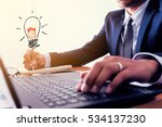 businessman is writing ideas on ... | Shutterstock . vector #534137230