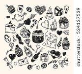 valentine's day. vector set of... | Shutterstock .eps vector #534137539