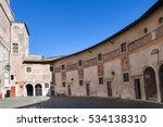 Small photo of ROME, ITALY - OCTOBER 31, 2016: courtyard of Castel Sant Angelo (Castle of the Holy Angel, Mausoleum of Hadrian) in Rome city. From this courtyard it is entrance to the apartments of Pope Alexander VI
