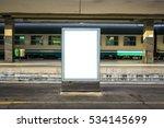 Empty Blank Billboard At Train...