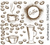 painted coffee beans sketch... | Shutterstock .eps vector #534146140
