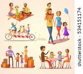family retro cartoon set with... | Shutterstock . vector #534151174