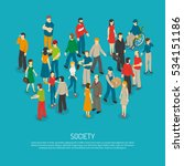 isometric people poster with... | Shutterstock . vector #534151186