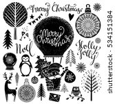 christmas and new year hand... | Shutterstock .eps vector #534151384