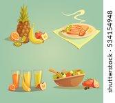 healthy food and drinks cartoon ... | Shutterstock . vector #534154948