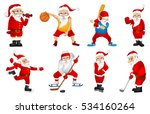 set of sporty santa claus... | Shutterstock .eps vector #534160264