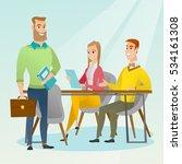 caucasian business partners... | Shutterstock .eps vector #534161308