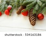 christmas tree branches with... | Shutterstock . vector #534163186