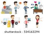 cashier standing at checkout in ... | Shutterstock .eps vector #534163294