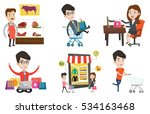 young woman making online order ... | Shutterstock .eps vector #534163468