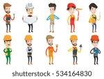 engineer watching blueprint of... | Shutterstock .eps vector #534164830