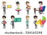 student looking at test paper... | Shutterstock .eps vector #534165298