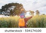 man backpacker enjoy child on... | Shutterstock . vector #534174100