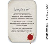 vintage paper scroll with wax... | Shutterstock .eps vector #534178420