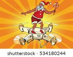 santa claus flying on a... | Shutterstock . vector #534180244