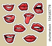 set of red female lips and... | Shutterstock . vector #534183778