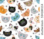 cat face vector background with ... | Shutterstock .eps vector #534184114