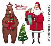 set of christmas cute cartoon... | Shutterstock .eps vector #534192850