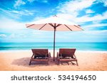 beautiful beach. chairs on the  ... | Shutterstock . vector #534194650