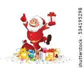 santa claus with bunch of gifts.... | Shutterstock .eps vector #534195298