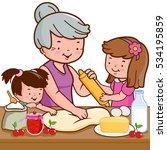 grandmother and children... | Shutterstock .eps vector #534195859