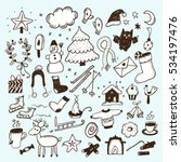 winter hand drawn sketch set.... | Shutterstock .eps vector #534197476