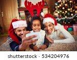 black family with lovely little ... | Shutterstock . vector #534204976