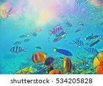 coral fish school in blue sea...   Shutterstock . vector #534205828