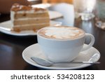 coffee  cappuccino and cake. | Shutterstock . vector #534208123