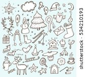 hand drawn christmas vector... | Shutterstock .eps vector #534210193