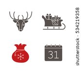 new year icons set. christmas... | Shutterstock .eps vector #534219358
