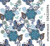 fantastic floral seamless... | Shutterstock .eps vector #534220096