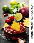 fresh salsa dips with nachos... | Shutterstock . vector #534220564