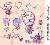 set of stylish illustration... | Shutterstock .eps vector #534222124